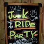 JUNK RIDE忘年会の看板。ハーレーの絵が描いてある(*^_^*)